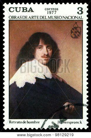 Vintage  Postage Stamp.  Retrato De Hombre, By  J. Verspronck.