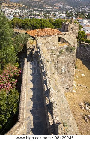 Tower And Ramparts Of Bodrum Castle Located In Southwest Turkey