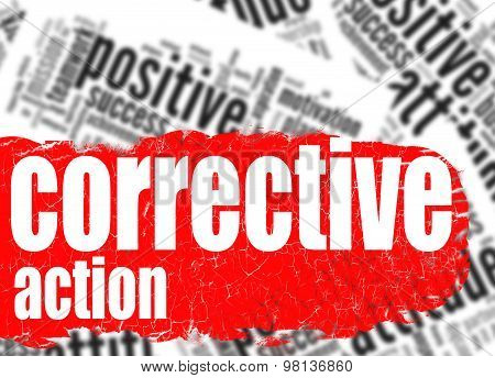 Word cloud corrective action image with hi-res rendered artwork that could be used for any graphic design. poster