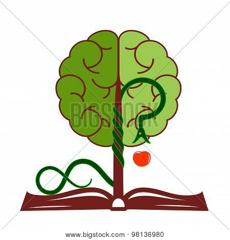 Tree of knowledge with foliage in the form of a brain, growing from the open book. poster