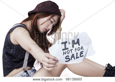 Sad Teen Girl Victim Of Human Trafficking