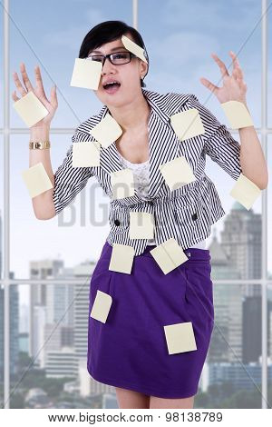 Stressful Woman With Empty Notes