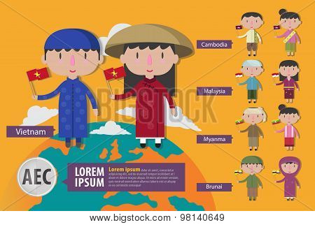 Asian Boy And Girl Intraditional Costume With Flag,asean