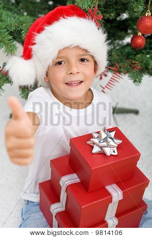 Happy Boy Satisfied With His Christmas Presents