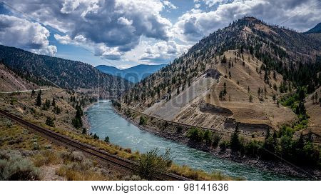 The Fraser River as it winds its way through the Fraser Canyon