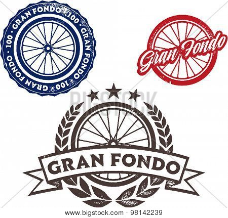 Vintage Style Gran Fondo Bicycle Ride Stamps