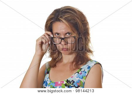 Beautiful woman wearting glasses.
