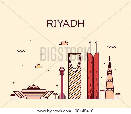 Riyadh skyline detailed silhouette Trendy vector illustration linear style poster