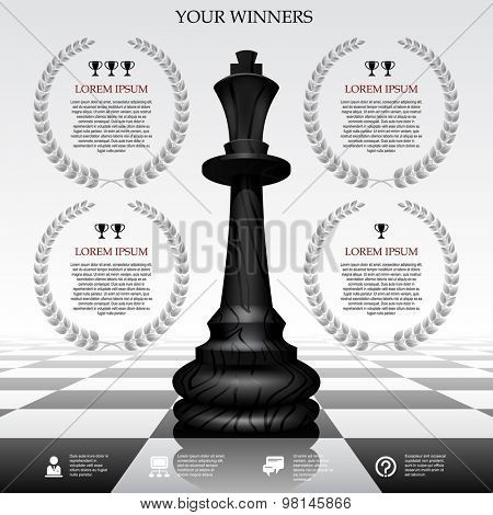 Web template with a black chessman on a chessboard and laurel wreaths. Winner board concept. Vector illustration