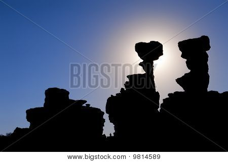 "Sandstone formations in Ischigualasto the one called ""the submarine"" in Ischigualasto Argentina UNESCO work heritage site. poster"