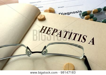 Word Hepatitis A. Medical concept.