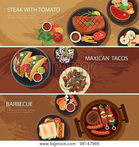 Street Food Web Banner, Steak , Maxican Tacos, Barbecue