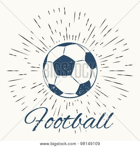 soccer ball and vintage sun burst frame