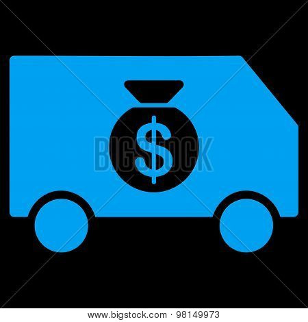 Collector Car icon from Commerce Set. Glyph style: flat symbol, blue color, rounded angles, black background. poster