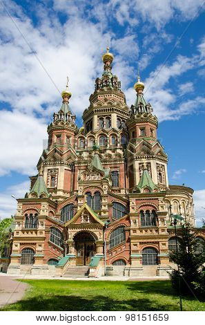 Cathedral of Saints Peter and Paul in Peterhof near Saint-Petersburg Russia poster