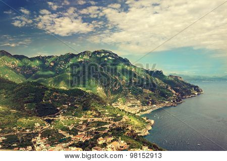 Sorrento place , Italy,cliff and beach