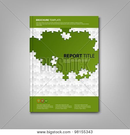 Brochures Book Or Flyer With White Puzzle Green Template