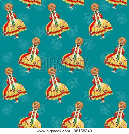 Decorated Indian Kathakali Dancer. Happy Onam. Seamless Background Pattern.