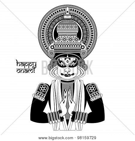 Decorated Indian Kathakali Dancer. Happy Onam. Black And White.