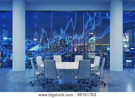 Panoramic Conference Room In Modern Office, Cityscape Of Singapore Skyscrapers At Night. Financial C