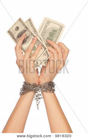 The arrested counterfeiter with hundreds false dollars poster