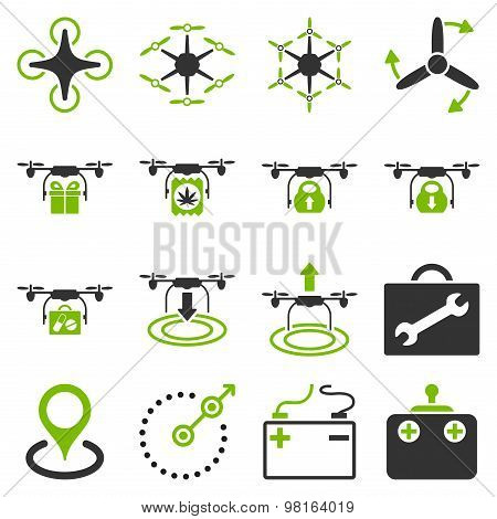 Air copter flat icon set designed with eco green and gray colors. These flat bicolor pictograms are isolated on a white background. poster