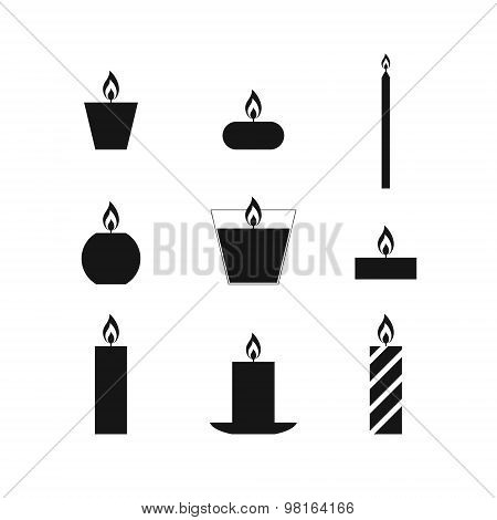 Flat Icons Christmas Candles