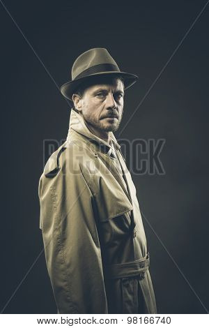 Confident agent in trench coat looking at camera 1950s style film noir poster