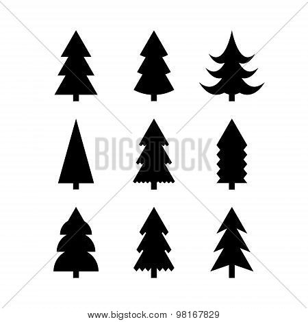 Simple Silhouettes Of Christmas Trees
