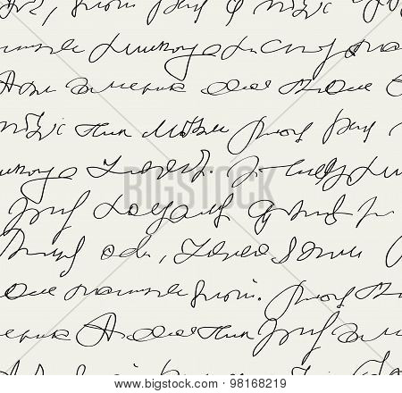 Vector Seamless Abstract Handwritten Text Pattern