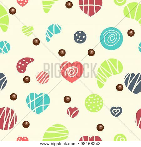Vector Seamless Pattern With Colorful Candies