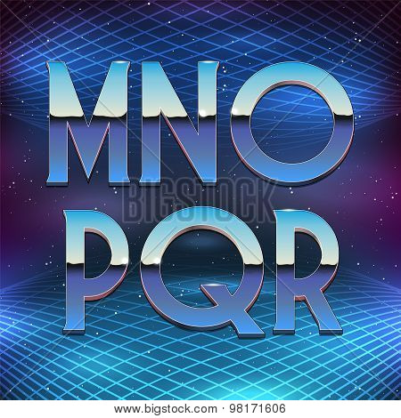 Thin Chrome Alphabet in 80s Retro Futurism style. Vector font from M to R poster