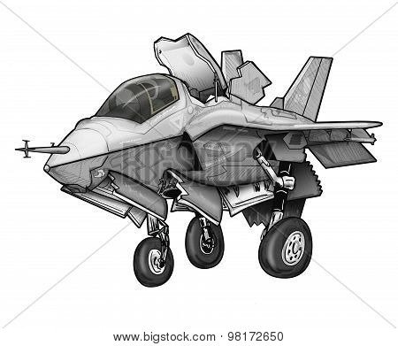 F-35B JSF Fighter Jet Cartoon