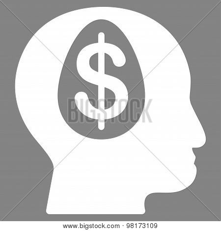 Banker icon from Commerce Set. Vector style: flat symbol, white color, rounded angles, gray background. poster