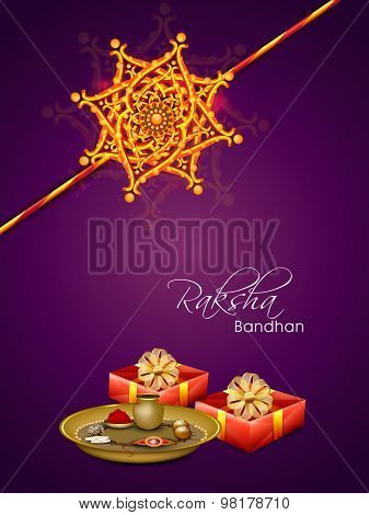 Beautiful greeting card design for the occasion of Indian festival Happy Raksha Bandhan with Rakhi  and gifts.