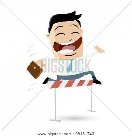 successful businessman jumping over hurdles