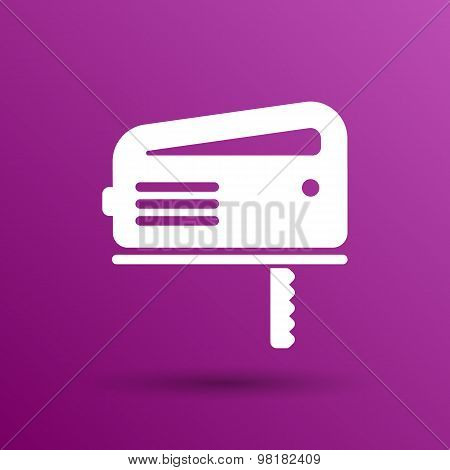 Cutting fretsaw symbol appliance icon Vector illustration. poster