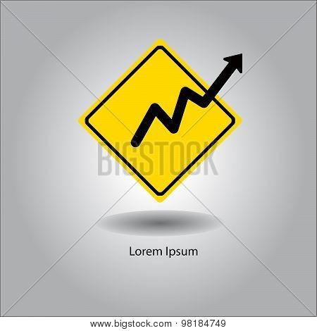 Illustration Vector Yellow Traffic Sign Symbol With Black Arrow Graph Up Isolated On Gray Background