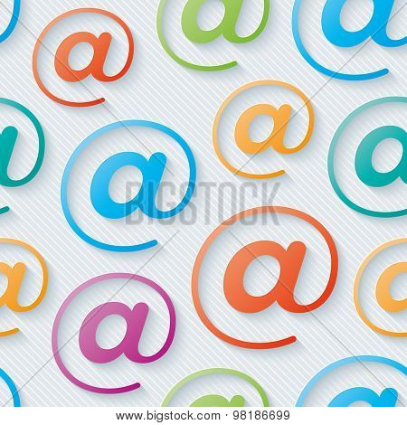 Colorful e-mail wallpaper. Seamless background with 3D effect. Vector EPS10.