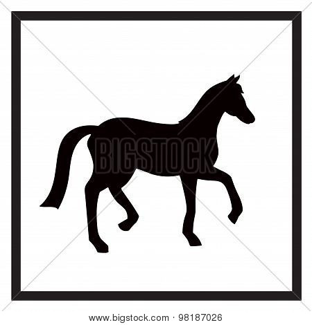Vector Black And White Label For Horse Club Or Riding Club With Horse Silhouette Isolated On The Whi