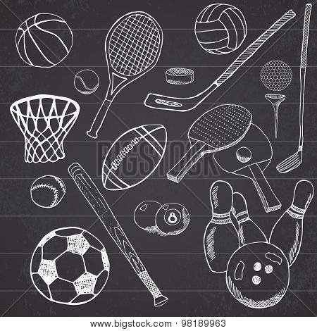 Sport Balls Hand Drawn Sketch Set With Baseball, Bowling, Tennis Football, Golf Balls And Other Spor