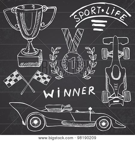 Sport Auto Items Doodles Elements. Hand Drawn Set With Flag Icon. Checkered Or Racing Flags First Pl