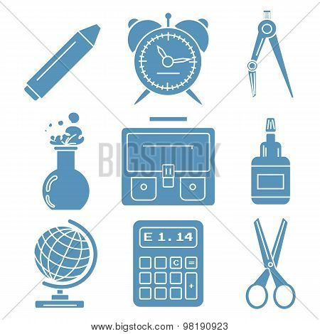 Black school goods, light blue linear icons.