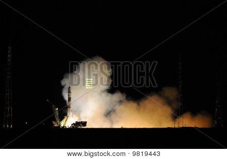 Soyuz Spacecraft Launch At Night