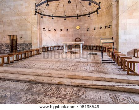 Tabgha, Israel - Juli 9: Tabgha Mosaic, The Church Of The Multiplication Of The Loaves And The Fishe