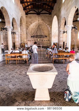 Tabgha, Israel 9 July 2015: Interior Of The Church Of The First Feeding Of The Multitude At Tabgha,