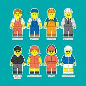 Flat set of people in different professions in constructor style. Convenient guide for children showing different profession. poster