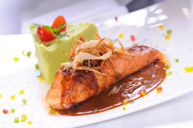 Grilled salmon fillet with sweet grilled onion sauce