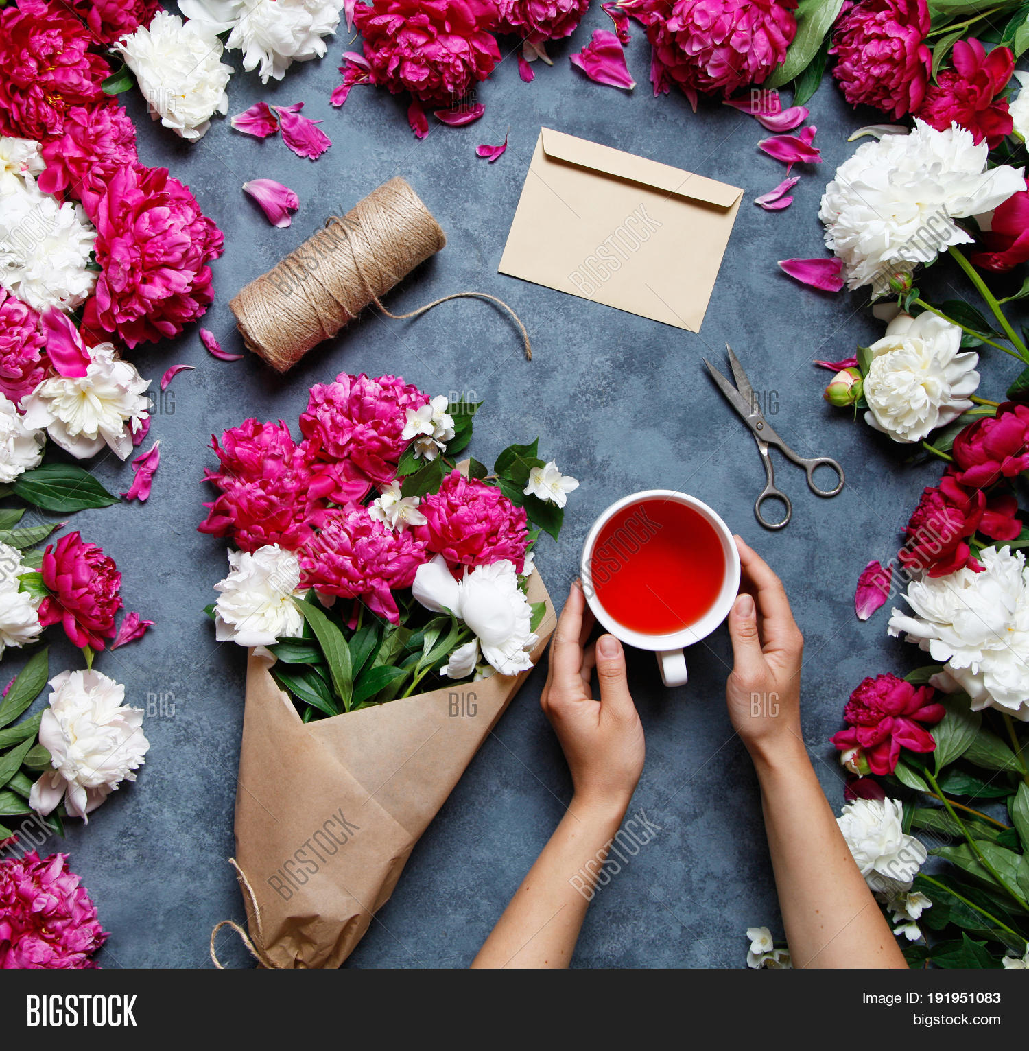 Flat lay summer flower image photo free trial bigstock flat lay summer flower background a bouquet of flowers of peonies the hands of izmirmasajfo
