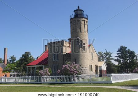 Old Mackinac Point Light on the Straits of Mackinac, Michigan